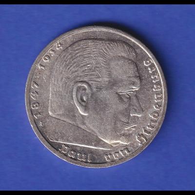 5-Reichsmark Silbermünze Hindenburg mit Hakenkreuz 1938 A