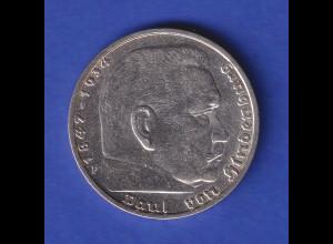 5-Reichsmark Silbermünze Hindenburg mit Hakenkreuz 1938 F