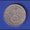 5-Reichsmark Silbermünze Hindenburg mit Hakenkreuz 1939 A