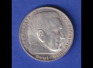 5-Reichsmark Silbermünze Hindenburg mit Reichsadler 1935 F