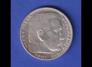 5-Reichsmark Silbermünze Hindenburg mit Reichsadler 1935 G