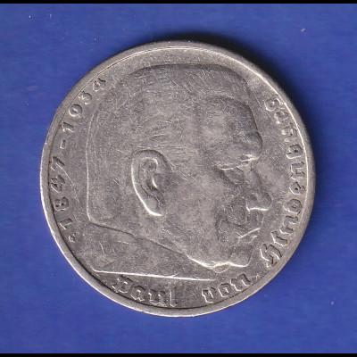 5-Reichsmark Silbermünze Hindenburg mit Reichsadler 1936 G