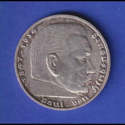 5-Reichsmark Silbermünze Hindenburg mit Reichsadler 1935 D