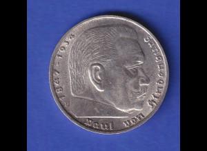 5-Reichsmark Silbermünze Hindenburg mit Reichsadler 1936 F