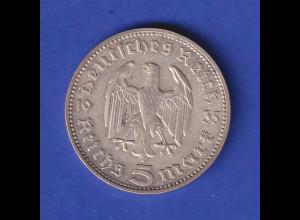 5-Reichsmark Silbermünze Hindenburg mit Reichsadler 1935 J