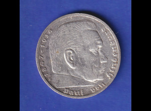5-Reichsmark Silbermünze Hindenburg mit Reichsadler 1936 E