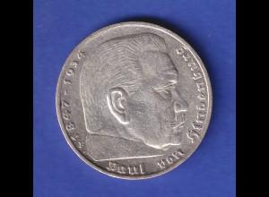 5-Reichsmark Silbermünze Hindenburg mit Hakenkreuz 1936 F