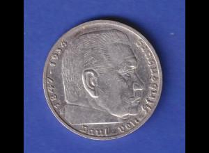 5-Reichsmark Silbermünze Hindenburg mit Hakenkreuz 1936 E
