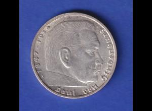 5-Reichsmark Silbermünze Hindenburg mit Hakenkreuz 1936 A