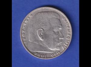 5-Reichsmark Silbermünze Hindenburg mit Hakenkreuz 1936 D
