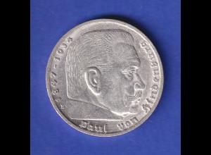5-Reichsmark Silbermünze Hindenburg mit Hakenkreuz 1937 E