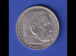 5-Reichsmark Silbermünze Hindenburg mit Hakenkreuz 1937 D