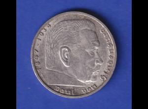 5-Reichsmark Silbermünze Hindenburg mit Hakenkreuz 1937 A