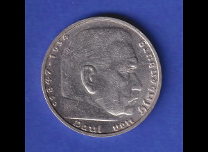 5-Reichsmark Silbermünze Hindenburg mit Hakenkreuz 1937 G