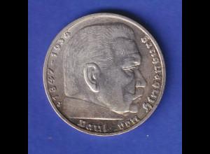 5-Reichsmark Silbermünze Hindenburg mit Reichsadler 1936 J