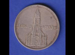 5-Reichsmark Silbermünze Garnisonkirche mit Datum 21. März 1933 1934 F