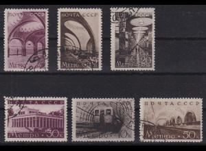 Sowjetunion 1938 Moskauer Metro Mi.-Nr. 646-51 Satz kpl. gestempelt