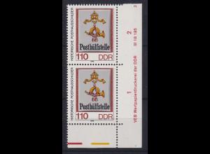 DDR 1990 Posthausschilder 110er Mi.-Nr. 3305 Eckpaar mit DV **