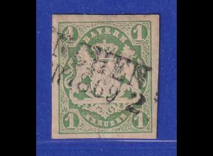 Altdeutschland Bayern Wappen 1 Kreuzer grün Mi-Nr. 14 mit PLF IV Keil in 1 O