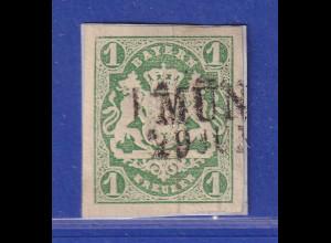 Altdeutschland Bayern Wappen 1 Kreuzer grün Mi-Nr. 14 mit Zweizeiler München