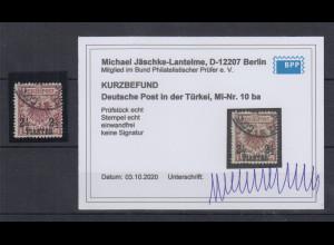 DAP Türkei 2 1/2 Piaster Mi-Nr. 10 ba gestempelt, einwandfrei mit Kurzbefund BPP