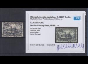 Dt. Kolonien Deutsch-Neuguinea 3 Mark Mi.-Nr. 18 gestempelt, Kurzbefund BPP