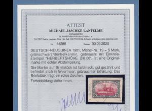 Dt. Kolonien Deutsch-Neuguinea 5 Mark Mi.-Nr. 19 gestempelt, Fotoattest BPP
