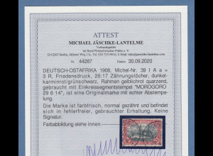 Dt. Kolonien Deutsch-Ostafrika 3 Rupien Mi.-Nr. 39 I A a gestempelt, Attest BPP