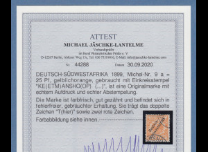 Dt. Kolonien Deutsch-Südwestafrika 25Pfg Mi.-Nr.9a gestempelt, Attest BPP