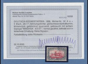 Dt. Kolonien Deutsch-Südwestafrika 5 Mark Mi.-Nr.32 Aa gestempelt, Befund BPP