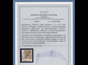 Dt. Kolonien Marshall-Inseln Berliner Ausgabe 3Pfg. Mi-Nr. 1 II gest. Attest BPP