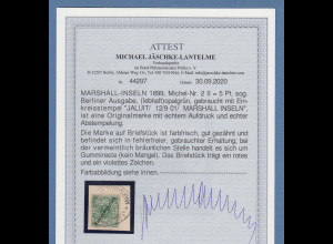 Dt. Kolonien Marshall-Inseln Berliner Ausgabe 5Pfg. Mi-Nr. 2 II gest. Attest BPP