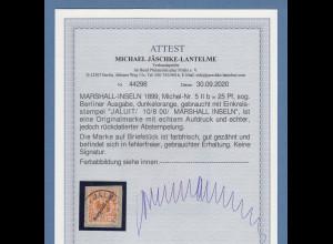Dt. Kolonien Marshall-Inseln Berliner Ausgabe 25Pfg. Mi-Nr 5 II gest. Attest BPP