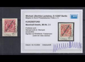 Dt. Kolonien Marshall-Inseln B1. Ausgabe 10Pfg. Mi-Nr. 3 I gest. , Befund BPP