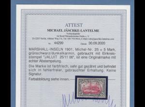 Dt. Kolonien Marshall-Inseln 5 Mark Mi-Nr. 25 gest. JALUIT mit Fotoattest BPP