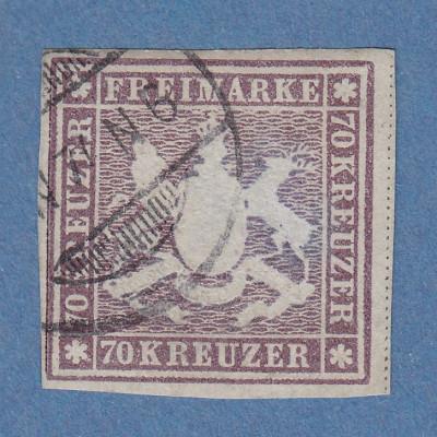 Württemberg 1873 70-Kreuzer Höchstwert Mi.-Nr. 42 gpr. mit Befund Heinrich BPP