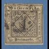 Württemberg 1851 1Kreuzer elfenbein Mi.-Nr. 1c O gpr. mit Befund Heinrich BPP