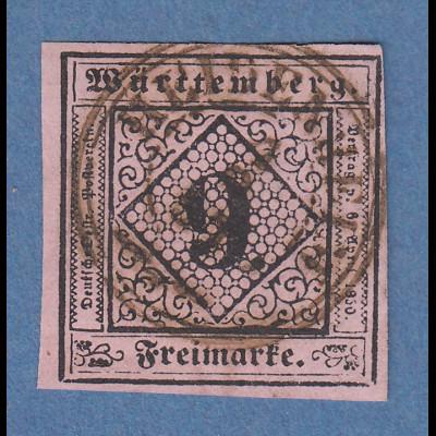 Württemberg 1851 9Kreuzer Mi.-Nr. 4c O HEIDENHEIM gpr. mit Befund Heinrich BPP