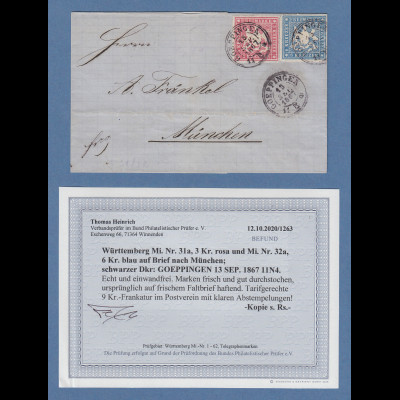 Württemberg 1867 Brief mit Mi.-Nr. 31 und 32 gpr. mit Befund Heinrich BPP