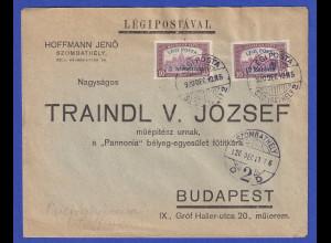 Ungarn 1920 Mi-Nr. 319 und 321 auf Brief
