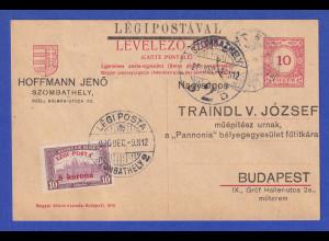 Ungarn 1920 Mi-Nr. 320 als Zufrankatur auf Ganzsache