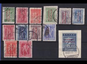Griechenland Bes. Türkei 1912-14 Mi.-Nr. 22-33 I und 37 gestempelt.