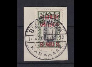 Griechenland Lokalausgabe Kawala ein Wert mit Stempel auf Briefstück
