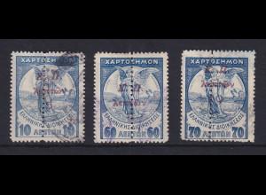 Griechenland 1917 Zwangszuschlagsmarken Mi.-Nr. 29,30,32 gestempelt