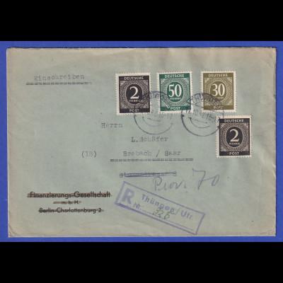 All.-Besetzung R-Brief gelaufen von Thüngen nach Brebach / Saar 17.10.47
