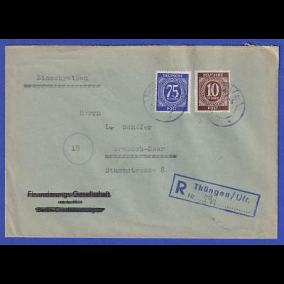 All.-Besetzung R-Brief gelaufen von Thüngen nach Brebach / Saar 18.5.47