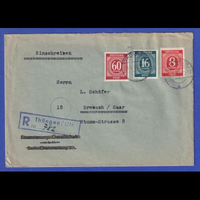 All.-Besetzung R-Brief gelaufen von Thüngen nach Brebach / Saar 9.6.47