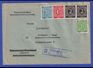 All.-Besetzung R-Brief gelaufen von Thüngen nach Brebach / Saar 27.6.47
