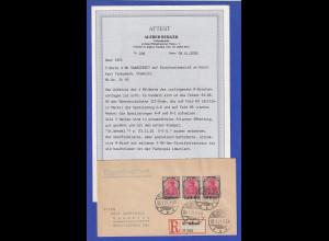 Saargebiet R-Brief mit 3er-Streifen Mi.-Nr. 49, dabei Spatiierungen, Attest BPP