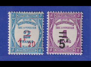 Frankreich 1929 Portomarken mit Wertaufdruck Mi.-Nr. 62-63 ungebraucht *